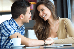 a woman trying to seduce a Scorpio man in a cafe