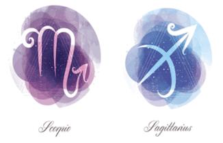 Images of the Sagittarius and Scorpio zodiac signs