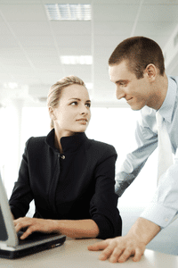 a woman attracted to a man at work